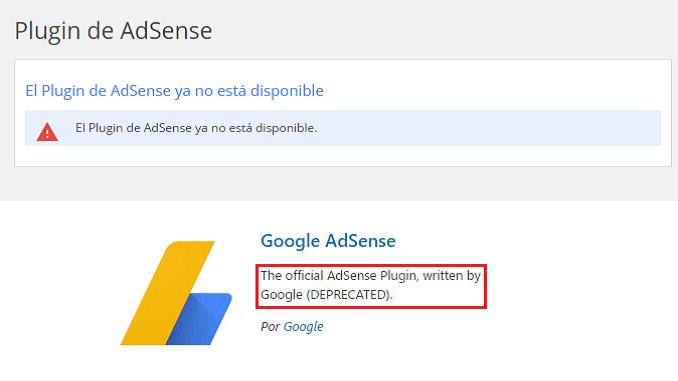 El Plugin de AdSense para WordPress ya no está disponible