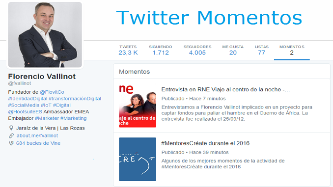 Twitter Momentos - Florencio Vallinot Tovar