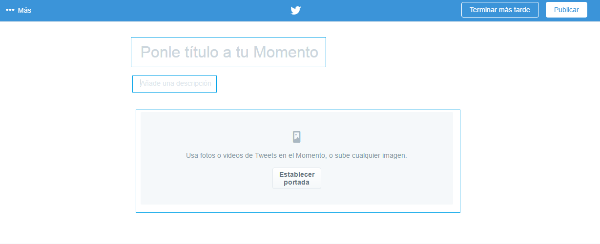 Inicio en Twitter Momentos