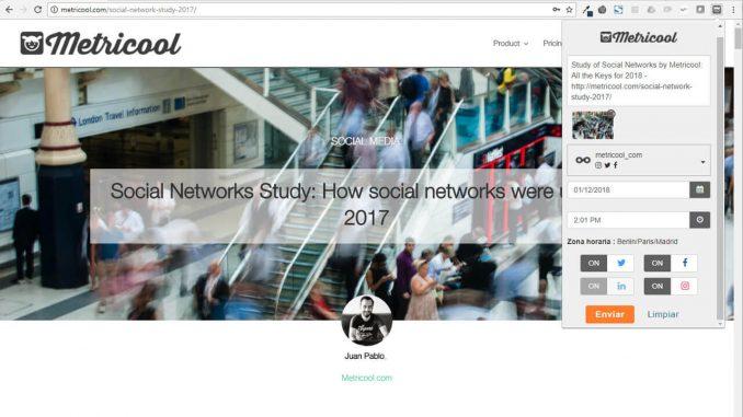 Extension Chrome de Metricool para redes sociales en Chrome store
