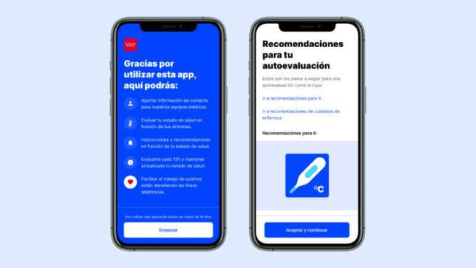 Información COVID-19 App autoevaluación Comunidad de Madrid