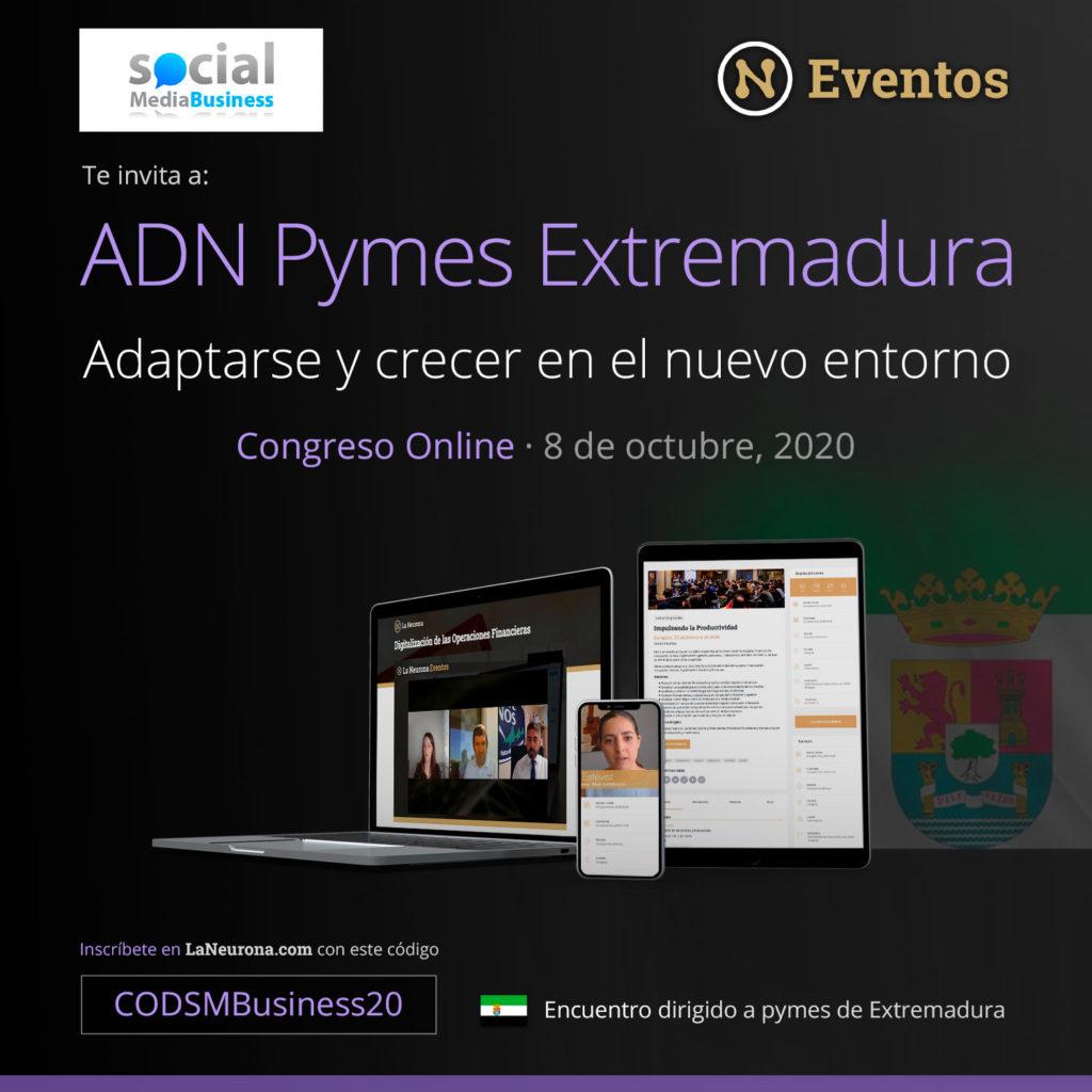 Adn Pymes Extremadura es el primer congreso online gratuito que se celebrará para las pymes extremeñas, el 8 de octubre.